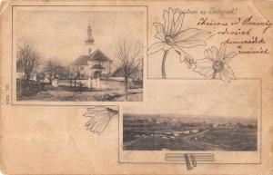 Solopisk Czech Republic Church and Birds Eye View Antique Postcard J64042