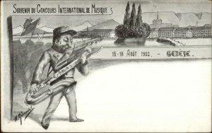 Geneve Music Festival Man Playing Saxophone 1902 Geroudet Postcard