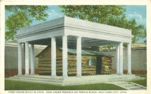 First House Built in Utah, Under Pergola on Temple Block,...