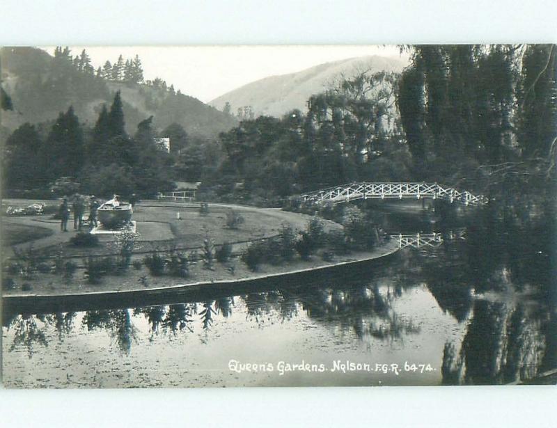 old rppc QUEEN'S GARDEN Nelson New Zealand i1930