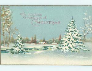 Pre-Linen christmas SNOW-COVERED TREES BY THE RIVER HQ6627