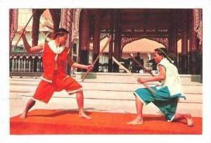Men Thai Fencing With Swords In Both Hands, Bangkok, Thailand, 40-60s