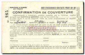 Old Postcard insurance coverage Confirmation Lloyd & # 39s Agence Maritime Ki...