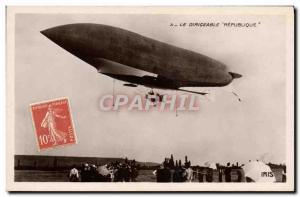 Old Postcard Zeppelin Airship Republic