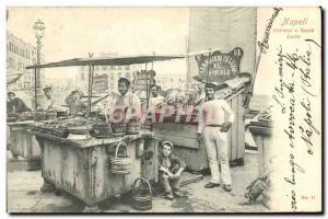Old Postcard Napoli Ostricai in Santa Lucia Fish Merchant TOP