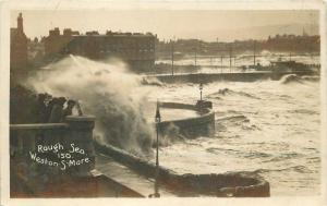 C-1910 Weston Super Mare Somerset  UK RPPC Photo Postcard Rough Sea 223