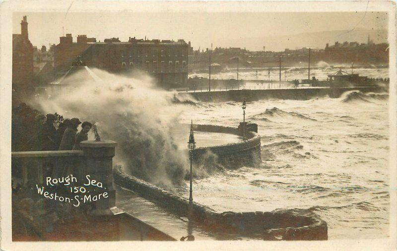 C-1910 Weston Super Mare Somerset  UK RPPC Photo Postcard Rough Sea 223