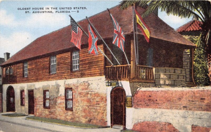 ST AUGUSTINE FL OLDEST HOUSE IN U.S.~4 FLAGS OF OCCUPATION~CONFEDERACY POSTCARD