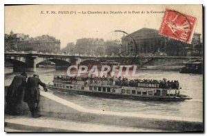 Old Postcard The Paris Chamber of Deputies and the Pont de la Concorde boat D...