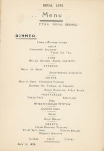 Royal Line Ocean Liner T.T.S.S. ROYAL GEORGE 1910 ; DINNER Menu