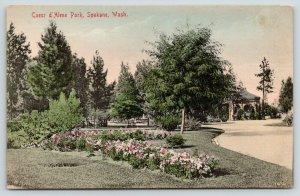 Spokane Washington~Coeur d'Alene~Flower Beds~Pavilion Background~c1910