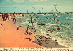 Michigan Holland Ottawa Beach Sunbathers and Sea Gulls