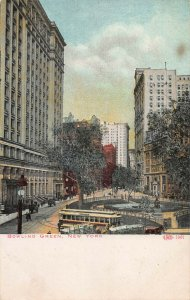 Bowling Green, Manhattan, New York City, Early Postcard, Used in 1908