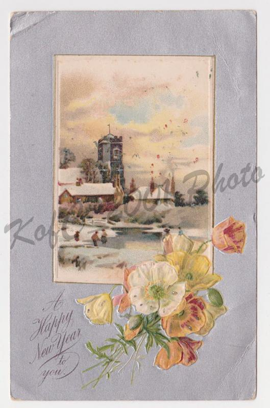 Philadelphia PA Stewart & Woolf London Series 636 Happy New Year Postcard