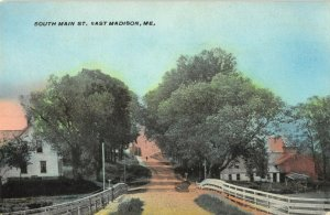 East Madison Maine~South Main Street~Homes into Town~Fenced Road~Barns~1908
