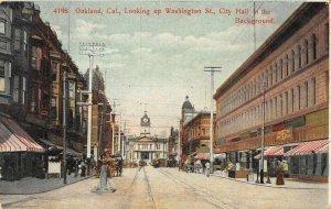 Oakland, California Washington Street Scene City Hall ca 1910s Vintage Postcard