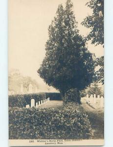 c1910 rppc WHITTIER GRAVE AT UNION CEMETERY Amesbury Massachusetts MA HM2819