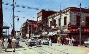 Wilkinsburg PA~Penn & Wood Street~Pennwood Grill~Rand's Drugs~1950s Cars~PC