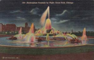 Buckingham Fountain By Night Grant Park Chicago Illinois Curteich