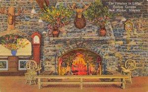 Endless Caverns Lodge Fireplace New Market Virginia 1962 linen postcard