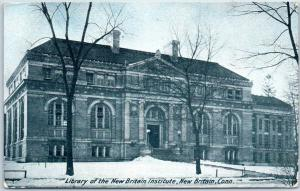 1910 Connecticut Postcard Library of the New Britain Institute Building View