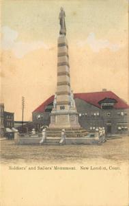 New London Connecticut~Civil War Soldiers Sailors Monument~1905 Handcolored PC