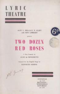 Two Dozen Red Roses Michael Yannis Comedy Lyric London Theatre Programme