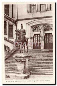 Old Postcard Chateau de Pierrefonds equestrian statue of Louis d'Orleans