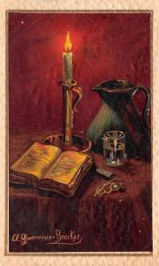 A Gammius Boecker~Bible Lit by Candle Light~Eyeglasses~Water Pitcher~Glass~Emb