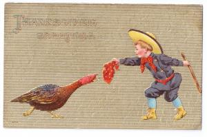Thanksgiving Boy Teases Turkey Red Kerchief Gold Moire Vintage Embossed Postcard