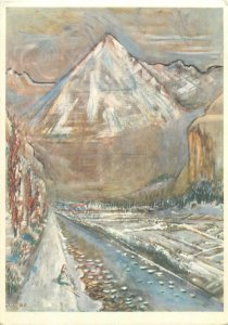 Postcard Alfred H Pellegrini mountain landscape paintng
