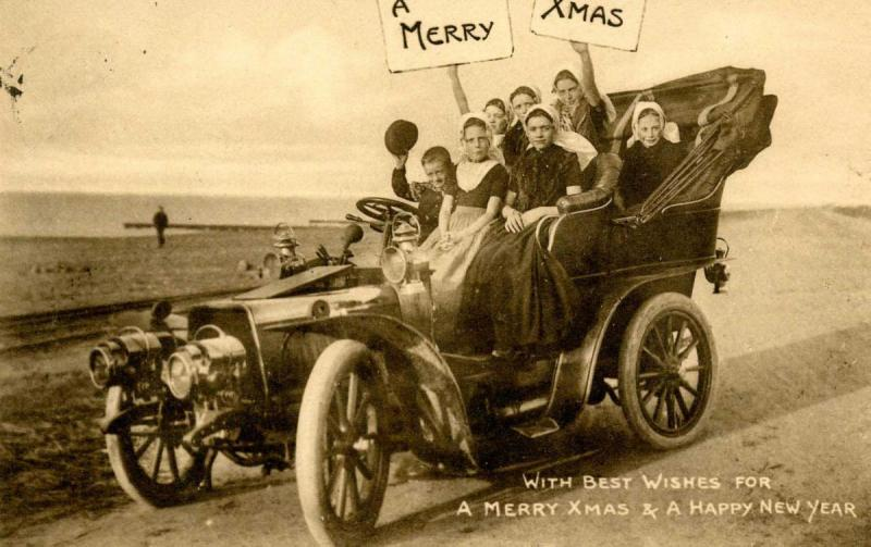 Greeting - Christmas, Old Auto with Children  *RPPC