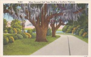 Moss Covered Oak Trees Shading A Southern Highway #301 In Dixieland
