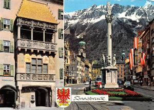 Innsbruck Goldenes Dachl Annasaeule Statue Statues Tram Cars Auto