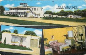 Nashville Tennessee~Park Plaza Courts~Motel~Inside Out~ART DECO~Linen Postcard