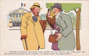 Political Comic postcard , France ,  10-30s # 6