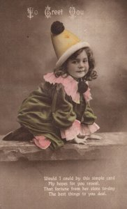 Child Dressed As Circus Clown Antique Greetings Postcard