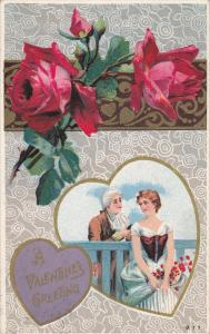VALENTINE´S DAY; Greeting, Hearts, Red Roses, Couple spending time together,...