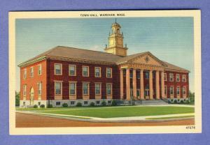 Wareham, Massachusetts/Mass/MA Postcard, Town Hall, Cape Cod