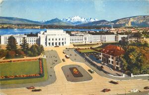 Switzerland Geneva le palais des nations et le Mont-Blanc