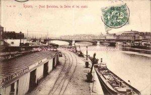 Rouen Old Postcard Boieldieu Bridge and the Seine quays