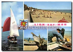 Modern Postcard Lion Sur Mer A beach Sailboat