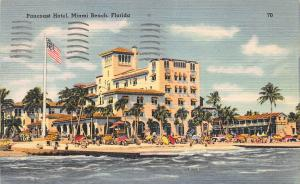 Pancoast Hotel, Miami Beach, Florida, Early Linen Postcard, Used in 1949