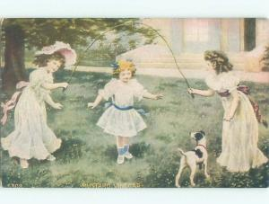 Pre-Linen GIRLS PLAYING WITH SKIPPING ROPE AC1132
