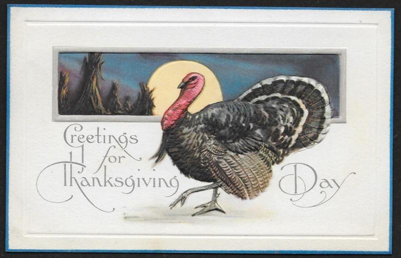 Greeting for Thanksgiving Day Turkey & Harvest Moon Unused c1910s