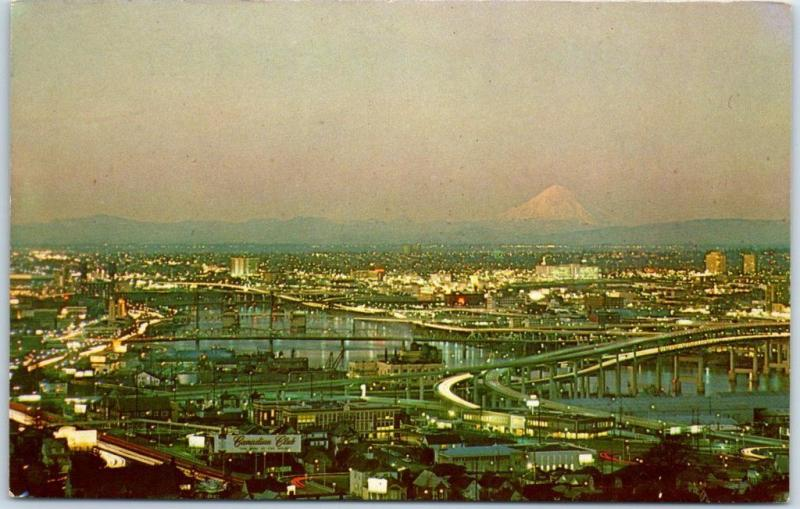 Portland, Oregon Postcard Aerial Panorama City View w/ Mount St. Helens c1960s