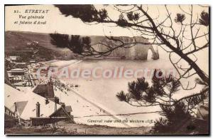 Old Postcard General view Etretat Falaise d'Aval