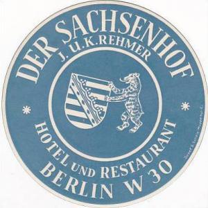 GERMANY BERLIN SACHSENHOF HOTEL & RESTAURANT VINTAGE LUGGAGE LABEL