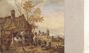 Wouverman.Scene with horses Fine painting, vintage German PC
