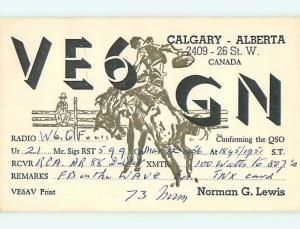 1951 Rodeo Stampede - Qsl Ham Radio Card In Calgary Alberta Ab Canada t1429